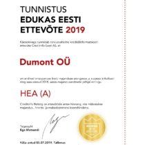 Tunnistus Edukas Eesti Ettevõte 2019